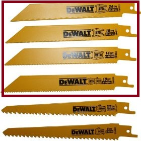 DeWalt brand reciprocating saw blades all types