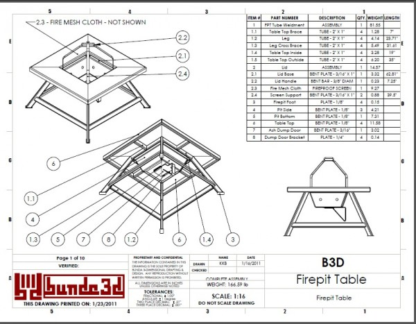 Firepit Table Fabrication Instructions Drawing