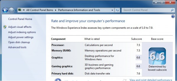 Windows 7 x64 - Performance - Experience Index Base Score