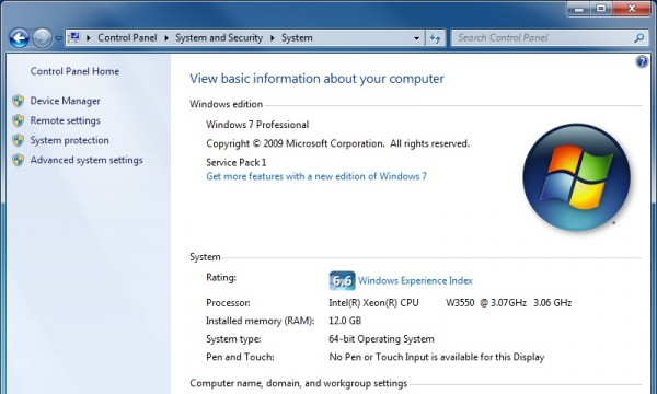 Windows 7 x64 Professional Computer Information Screenshot