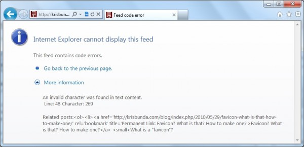 IE Screenshot - WordPress RSS Feed Error - YARPP Settings