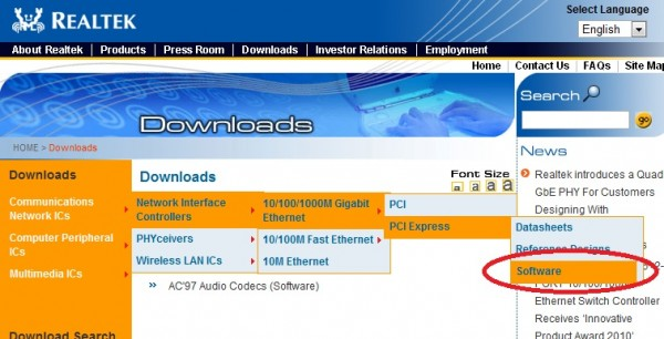 Realtek Software and Driver page - Download Utility to Fix Issue