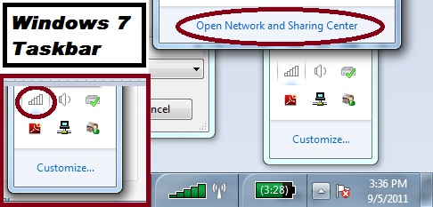 Windows 7 Taskbar - Go to Network settings to fix your Ethernet Adapter