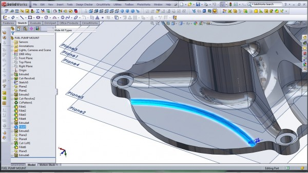 3D CAD Modeling - SolidWorks - High Performance Engine Part - Fuel Pump Mount - 19