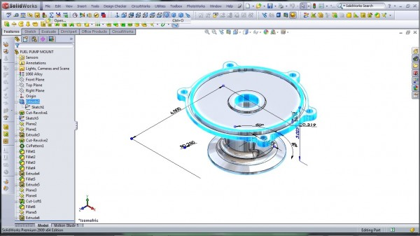 3D CAD Modeling - SolidWorks - High Performance Engine Part - Fuel Pump Mount - 2