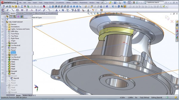 3D CAD Modeling - SolidWorks - High Performance Engine Part - Fuel Pump Mount - 20