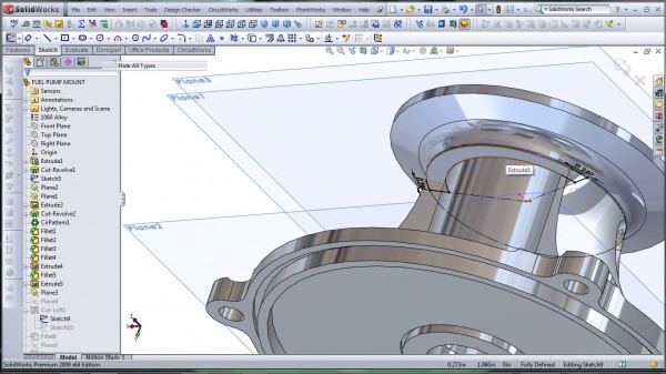 3D CAD Modeling - SolidWorks - High Performance Engine Part - Fuel Pump Mount - 24.1