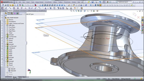 3D CAD Modeling - SolidWorks - High Performance Engine Part - Fuel Pump Mount - 24.2