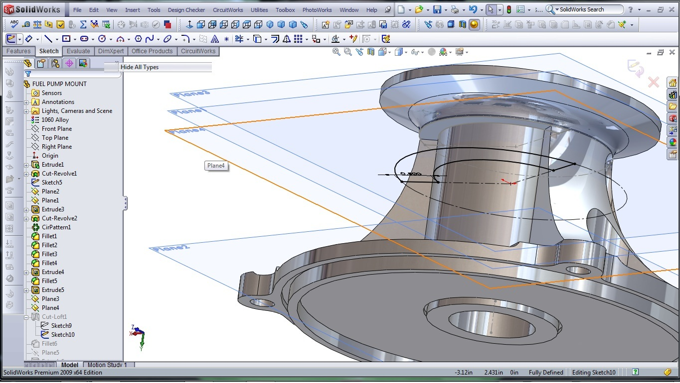 3d Cad Modeling A High Performance Engine Part How To Page 5 Diagram Solidworks Fuel Pump Mount 242