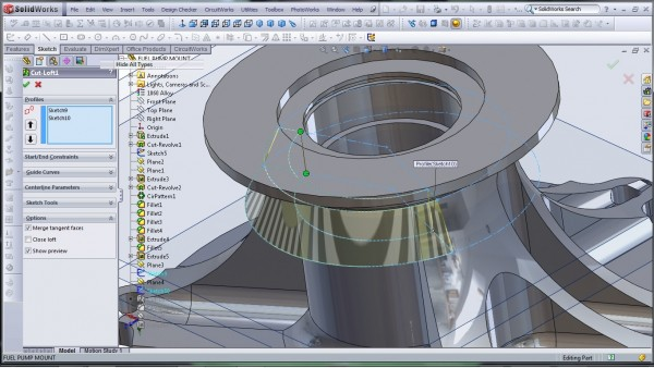 3D CAD Modeling - SolidWorks - High Performance Engine Part - Fuel Pump Mount - 25