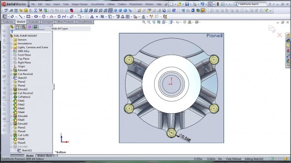 3D CAD Modeling - SolidWorks - High Performance Engine Part - Fuel Pump Mount - 28