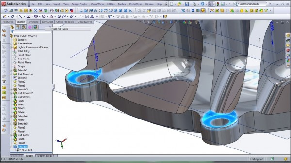 3D CAD Modeling - SolidWorks - High Performance Engine Part - Fuel Pump Mount - 29