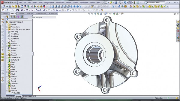 3D CAD Modeling - SolidWorks - High Performance Engine Part - Fuel Pump Mount - 30