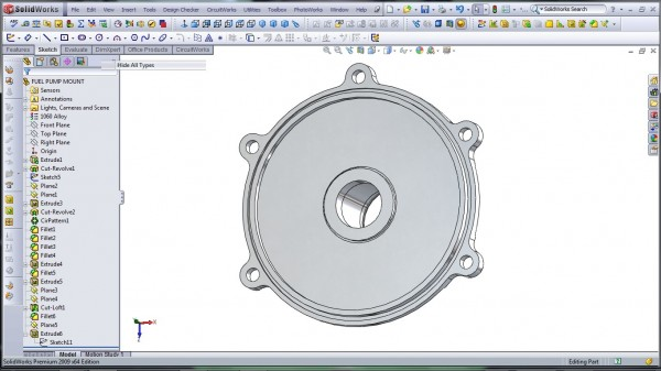 3D CAD Modeling - SolidWorks - High Performance Engine Part - Fuel Pump Mount - 31