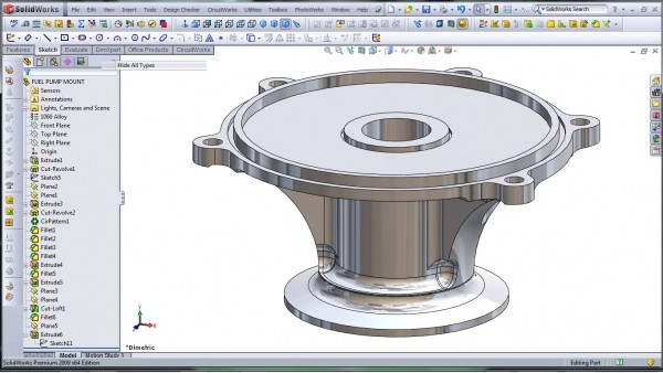 3D CAD Modeling - SolidWorks - High Performance Engine Part - Fuel Pump Mount - 32