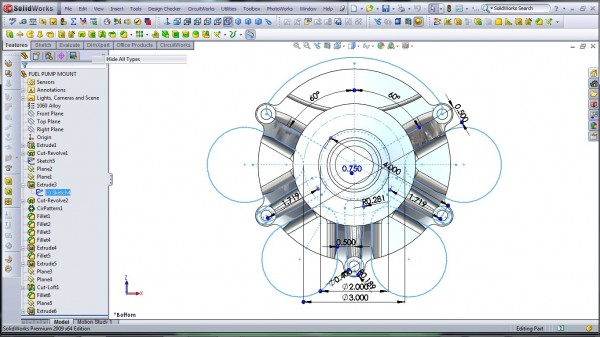 3D CAD Modeling - SolidWorks - High Performance Engine Part - Fuel Pump Mount - 8.1