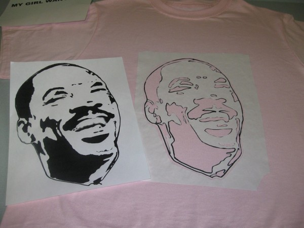 Checking the freezer paper iron-on stencil - Eddie Murphy T-shirt