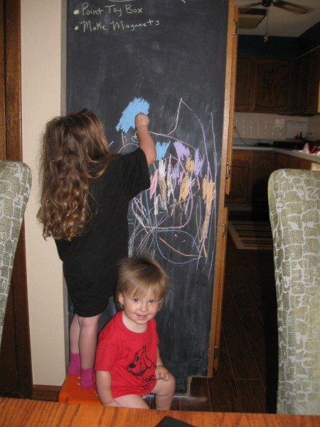 Kids with Steel Magnetic Kitchen Cabinet Blackboard design