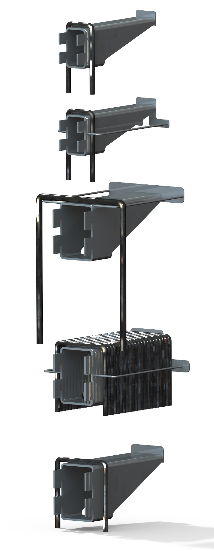 U-Bolt Rack Module Set - Back View - Designed in SolidWorks - Kris Bunda
