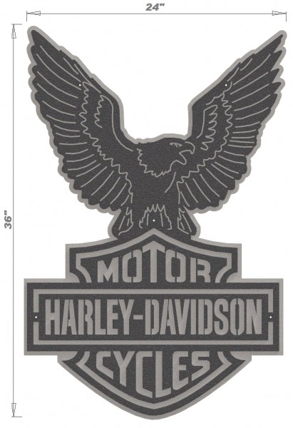 Harley Davidson Logo & Eagle - 2 Piece Steel Wall Decoration 2