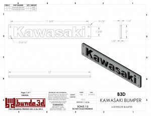 CAD Drawing for a Kawasaki 4 wheeler's bumper