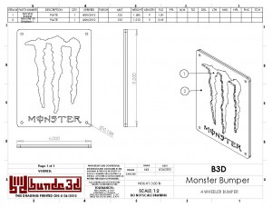 "CAD drawing for a ""Monster Energy Drink"" themed 4 wheeler's bumper"