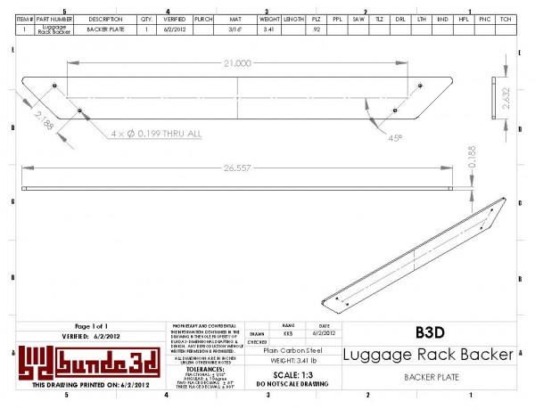 Motorcycle Luggage Rack Backer Plate Drawing