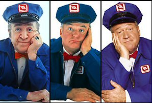 3 different bored Maytag repair men