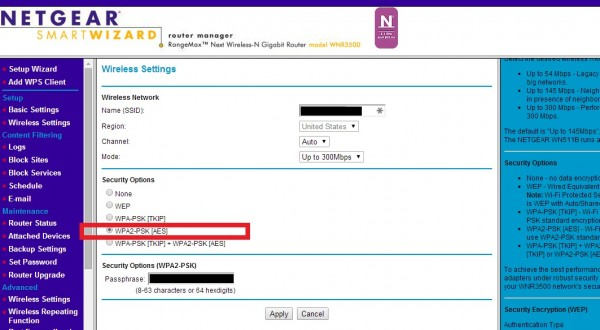 Netgear WNR3500 router manager page, security changed from WEP to WPA2-PSK, for Nest Thermostat compatibility