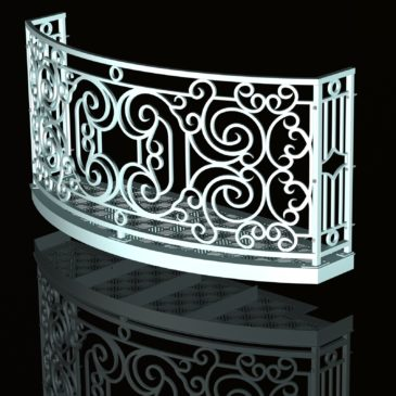Curved Balcony Design: Faux Wrought Iron, CAD How-To, Prints & Renderings