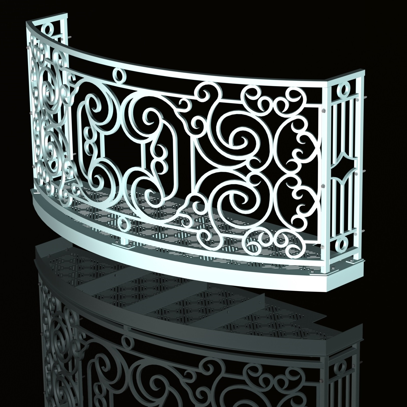 Curved Balcony Design Faux Wrought Iron Cad How To
