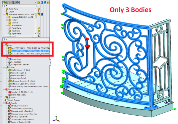 Curved Balcony SolidWorks Simulation Parts Models Setup