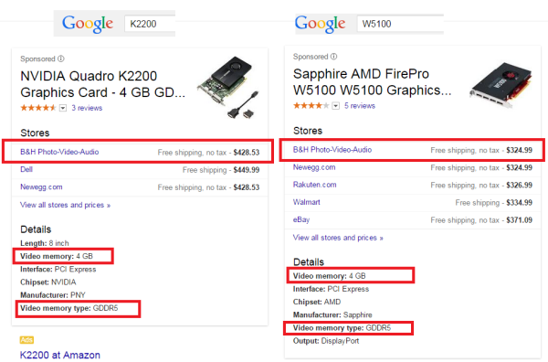 Comparing value pricing of Nvidia Quadro K2200 to AMD FirePro W5100
