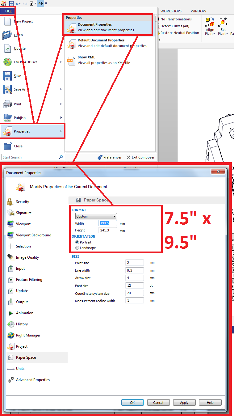 SolidWorks Composer page size settings