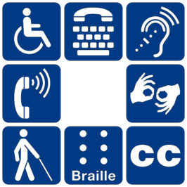 Disability symbols: Consider that not all people can read web pages the same way. As many as 25% of the world's Internet users have visual, auditory or mobility disability.