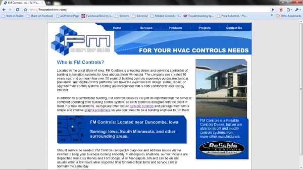 FM Controls, Inc. - HVAC Controls Website