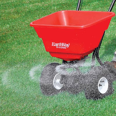 "Use a ""Broadcast Lawn Spreader"" for grass seed, lime, fertilizer, and ""weed & feed"" granules"