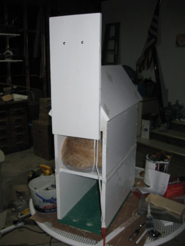 Cat House - Unfinished, Back Door Open