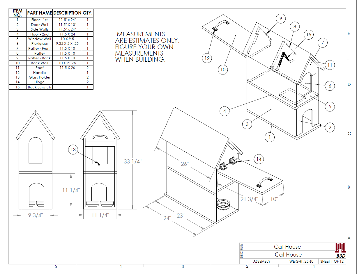 cat house build plans and instructions drawing diy pet shelter