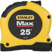 Tape Measure, Stanley brand, yellow, 25 feet