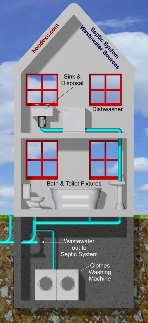 Septic System - House Section-View - Wastewater Sources - Appliances & Drains