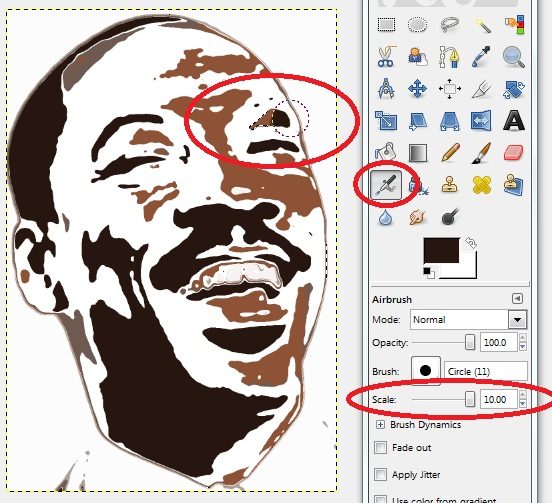 GIMP - Fuzzy Select Tool to select Eye Region, then Airbrush Tool to paint that region