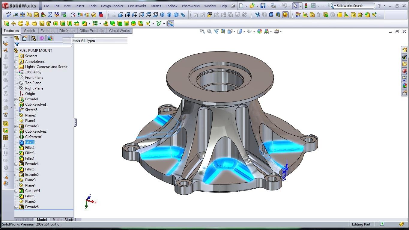 3d cad modeling solidworks high performance engine part fuel pump mount 13 designer rants. Black Bedroom Furniture Sets. Home Design Ideas