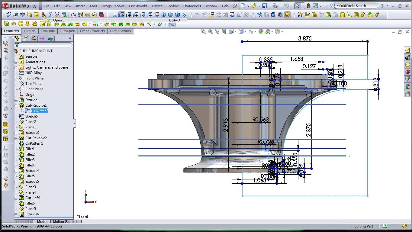 3d cad modeling solidworks high performance engine part fuel pump mount 3 designer rants. Black Bedroom Furniture Sets. Home Design Ideas