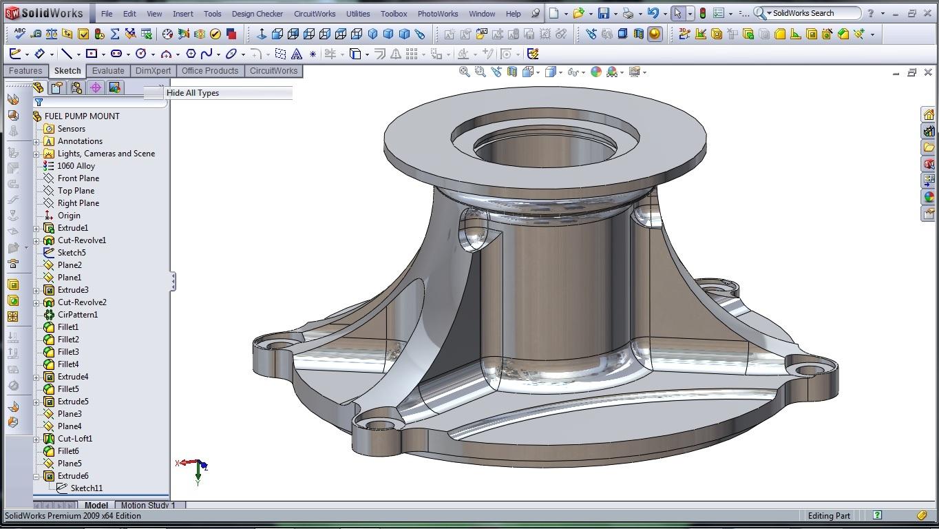 3d cad modeling solidworks high performance engine part fuel pump mount 33 designer rants. Black Bedroom Furniture Sets. Home Design Ideas