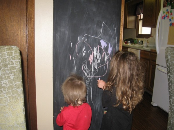 Kids with Steel Magnetic Kitchen Cabinet Blackboard design