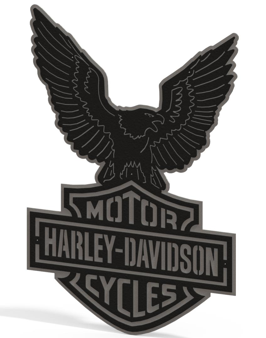 Harley Davidson Logo & Eagle - 2 Piece Steel Wall Decoration 1