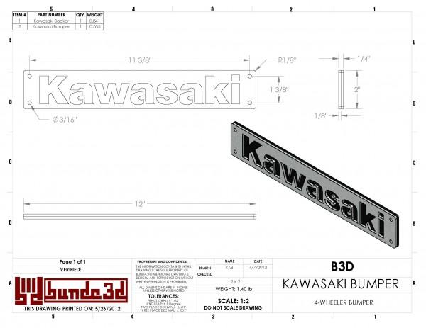 CAD Drawing for a Kawasaki 4 wheeler's bumper