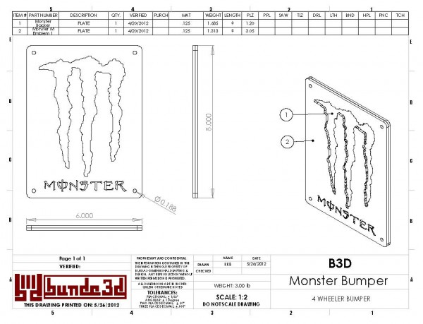 """CAD drawing for a """"Monster Energy Drink"""" themed 4 wheeler's bumper"""