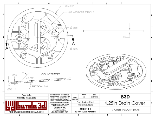 4.25in Custom Decorative Drain Cover Design - Counterbore Drawing
